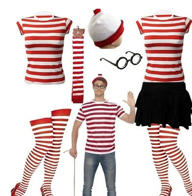 NEW Womens Mens Licensed Wheres Wally Kit Strips Fun Stag Do Fancy Dress