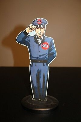 Open Roads Brands Gulf Gas Station Attendant Tin Sign Standee