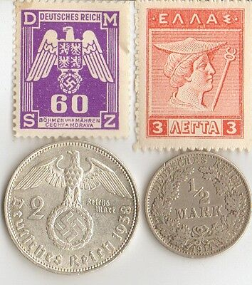 *WWI   and  WWII -  Antique. silver - *german  coin's  + wwi  and  WWII  STAMPS