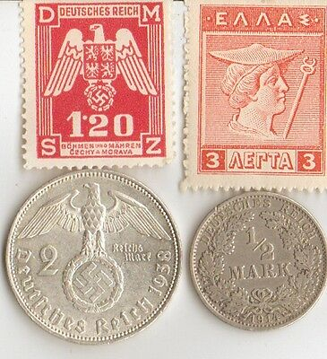 *wwi -  *GREEK  stamp  +  WWI and  WWII -  Antique. silver - *german  coin's