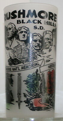 MidCentury MT RUSHMORE BLACK HILLS SOUTH DAKOTA Travel Souvenir Drinking Glass