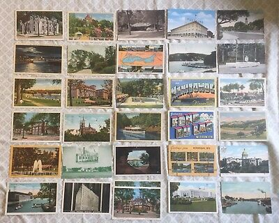 Wisconsin Postcards Lot of 41 Vintage Post Cards Milwaukee Madison Green Bay
