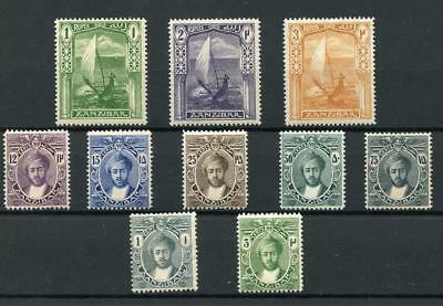 Zanzibar 1913 short set to 3r SG246/57 (exc 6c & 10c) MM cat £95