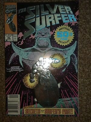 Silver surfer 50.  Embossed cover. Thanos.  Infinity Gauntlet issue.
