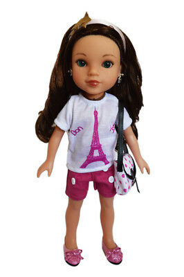 Paris Themed Outfit with Accessories For Wellie Wisher Dolls