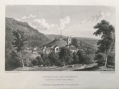 1830 Antique Print; View of Plympton, Plymouth, Devon after Westall