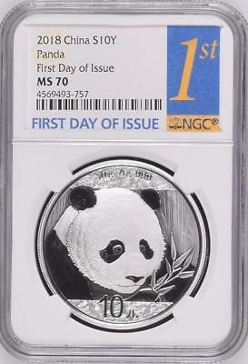 FIRST DAY OF ISSUE! NGC MS70 2018 China S10Y Panda 30g Silver, Super Nice! (757)