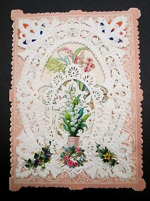 Antique 1880s Victorian Paper Lace Layered Greeting Card Kate Greenaway Inside