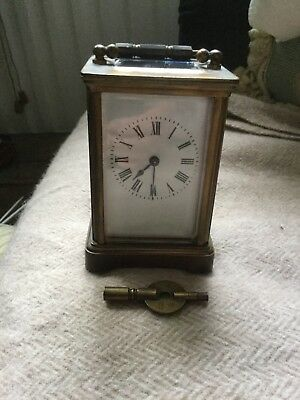 Working Carriage Clock With Key. Solid Brass. Bevelled Glass.