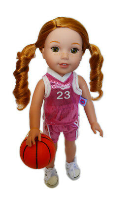 Pink Complete Basketball Outfit For Wellie Wisher Dolls