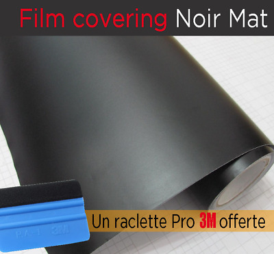 ☆ FILM COVERING NOIR MAT thermoformable sticker adhésif 152cmx30 + raclette 3m ☆