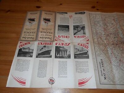 Vintage Early 1900's FRENCH LINE Tourist Map Of FRANCE - North Africa - New York