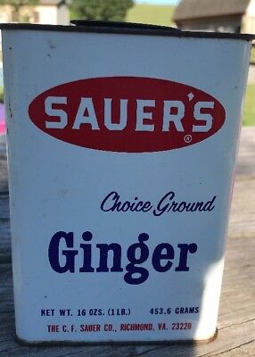 Vintage SAUER'S GINGER Spice Tin - 16 Oz. - Good Condition