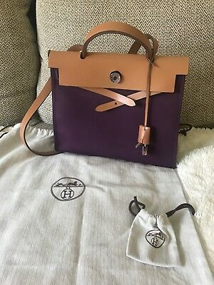 82b2808aa538 Auth HERMES Herbag Zip PM Shoulder Hand Bag Canvas Leather Brown Pink purple  Use