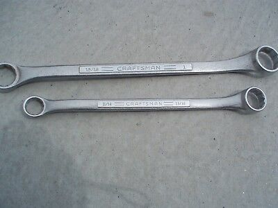 """Vintage Craftsman =v= Double Box End Wrenchs 15/16-1"""" 11/16-13/16 1960s VGC 22"""