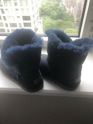 a3a73ace8e2 Ugg Bailey Button II Little Kids 1017400K-Navy Blue Sheepskin Boots Youth  Size 3