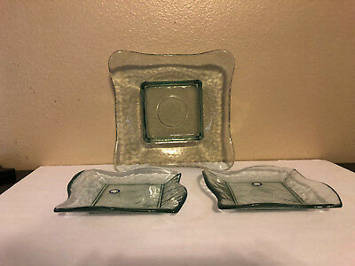 """3 NEW Large EcoGlass Green Hand Blown Recycled Glass Spain Plates Platters 9"""" 8"""""""