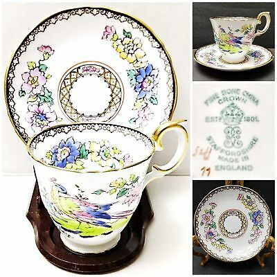 2 Pcs Vintage Crown Staffordshire Gold Trim Demitasse Cup & Saucer w/Bird,Flower