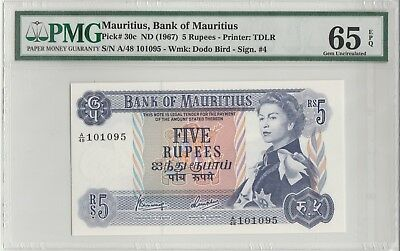 1967 Mauritius, Bank of Mauritius Five Rupees PMG65 Gem-Uncirculated