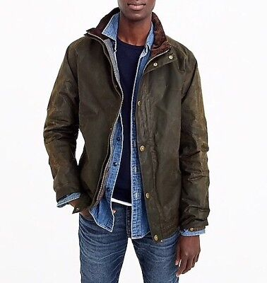 New Barbour Sylkoil Duxbury Jacket for J.CREW Olive Green Men's Large G8342 $379