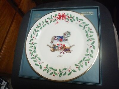 Lenox China Annual Holiday Christmas Plate 1992 Rocking Horse Original Box
