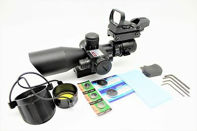 2.5-10X40 Tactical Rifle Scope with Red Laser & Reflex Dot Sight inl. Batteries