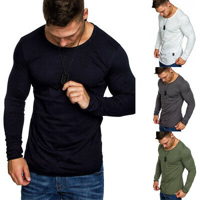 Men's Slim Fit O Neck Long Sleeve Muscle T-shirt Casual Henley Shirts Tops
