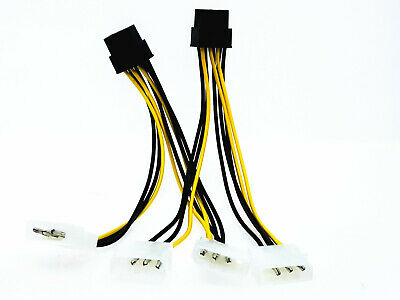 1pcs Dual 4 Pin Molex IDE to 8Pin Wire Video Card Power PCI-E Adapter PC Cable