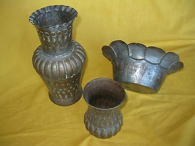 Two vases and one bowl / planter - copper with silver wash, from Egypt - vintage