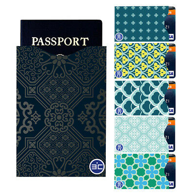 RFID Blocking Anti-theft 5 ID/Credit Card & 1 Passport Sleeve Scan Safety Travel