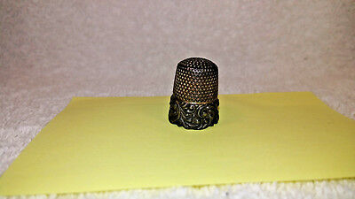 "Antique MKD Ketcham McDougall Sterling Silver Thimble 9 Sewing Ornate .75"" Tall"