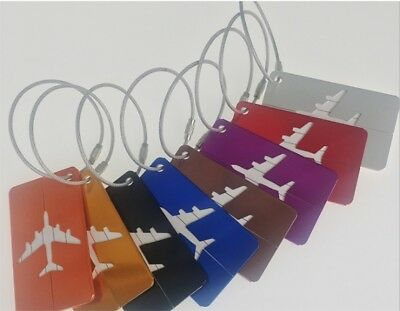 8pc Aluminium Luggage Tags Suitcase Label Name Address ID Bag Baggage Tag Travel
