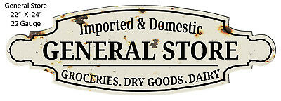 General Store Grocery Goods Cut Out Country Metal Sign 8x24