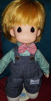"""PRECIOUS MOMENTS Doll Samuel Butcher 14"""" Red Hair*OZARK ANDY  Doll w/stand"""
