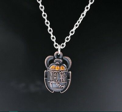 Egyptian Scarab Beetle With Rhinestones Charms Alloy Pendants Necklaces
