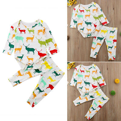 Casual Baby Boy Girl Colorful Elk Unisex Long Sleeve Romper+Pant Suit Outfit