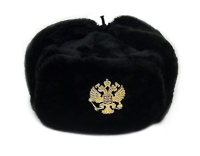 Russian Military Army Winter Hat Ushanka *BLACK-L* w/Imperial Eagle Crest Badge