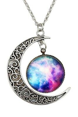 Women Galactic Glass Cabochon Pendant Crescent Moon Necklace(Color numbers: R4G8