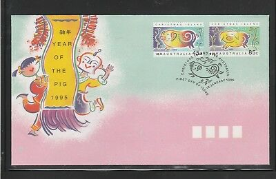 Christmas Island 1995 Lunar Year of the Pig. First Day Cover. 45c, & 85c Stamps