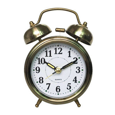 Vintage Silent Alarm Clock Loud Twin Bell Bedside Clock with Nightlight