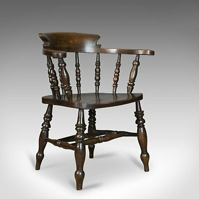 Antique Armchair, English, Victorian, Elm Bow Back, Smokers Captains Chair C1900