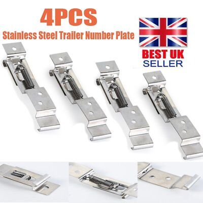 4 x Trailer Oblong Number Plate Clips Holder Spring Loaded Stainless Steel