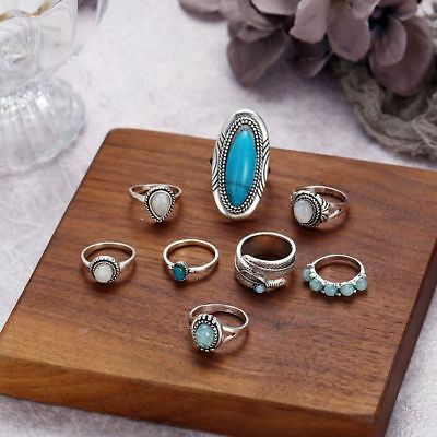 8PCS 925 Sterling Silver Turquoise Opal Rings Set Natural Gemstone Ring 17g