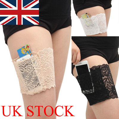 UK Pair Anti-Chafing Thigh Pocket Bands Women Stylish Non Slip Lace Elastic Sock
