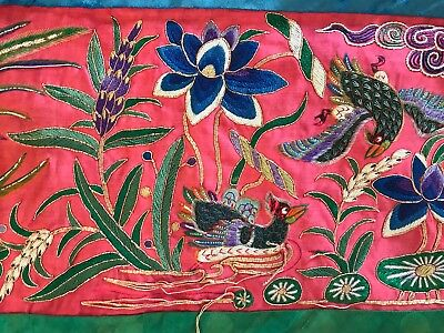 Big Colorful Antique Chinese Embroidered Banner Panel Phoenix Ducks Peking Knot