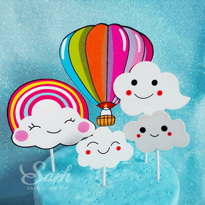 Rainbow Hot Air Balloon Cloud Collection Cake Topper CK1236*2