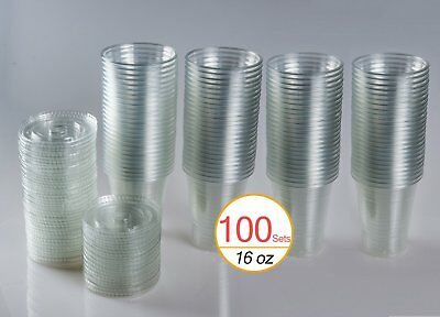16 oz Plastic Clear Drink PET Cups With Flat Lids 100 Sets Durable Disposable