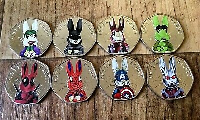 Selection Of Super Hero Peter Rabbits 2016 Collectable 50p Coins Beatrix Potter