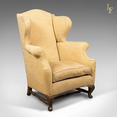 Late Victorian Antique Wing Back Armchair, c.1900