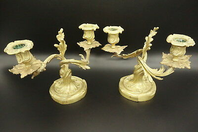 Pair Of Candleholders Stamped, Louis Xv Style Era 19Th - Bronze - French Antique